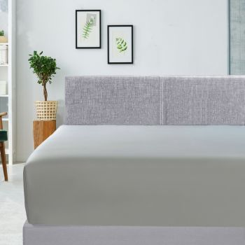 Single Bed 400TC Bamboo Cotton Fitted Sheet in Silver
