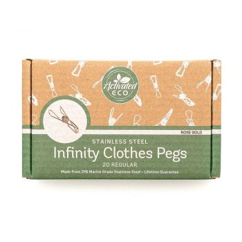 Rose Gold Stainless Steel Infinity Clothes Pegs 20 Pack
