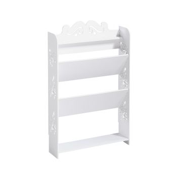 Levede 4 Tiers 43 Width Chic Hollow Storage Shoe Rack Stand Shelf Organiser