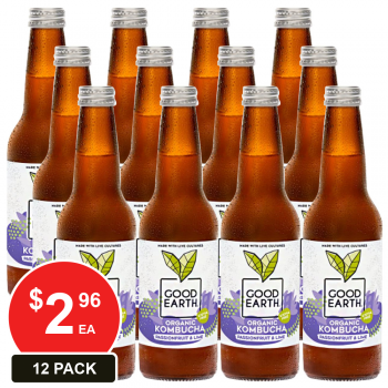 12 Pack, Good Earth 330ml Kombucha Passionfruit & Lime