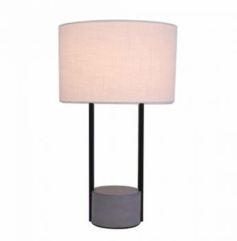 Remy Table Desk Lamp Concrete Look Base Fabric Shade - Grey / White