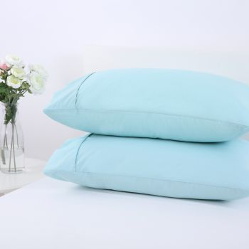 Dreamaker 250TC Plain Dyed Standard Pillowcases - Twin Pack -canal blue