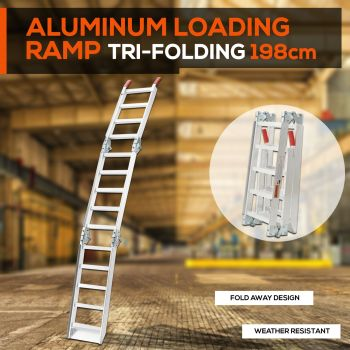 ALUMINIUM TRI-FOLDING LOADING RAMPS ATV Motobike Motorcycle Trailer Golf Buggy