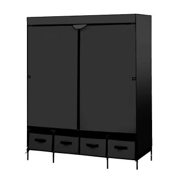 Levede Portable Wardrobe 4 Drawers Storage Organiser With Shelves