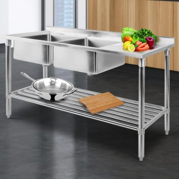 Cefito 1500x600mm Stainless Steel Sink Bench Kitchen Work Benches Double Bowl 304 Food Grade Stainless Steel