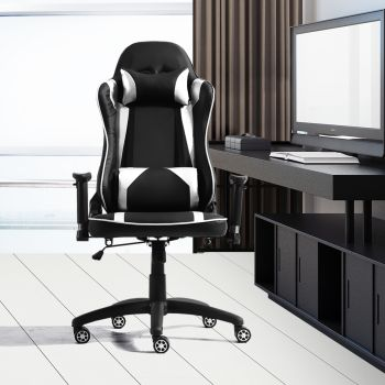 Levede Executive Gaming Office Chair Racing Computer PU Leather Recliner Silver