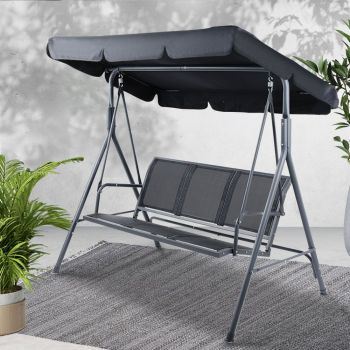 Swing Chair Hanging Chairs Hammock Outdoor Furniture 3 Seater Canopy Garden Bench Seat Patio Gardeon Lounger Cushion Backyard Park Black