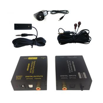 Digital Audio CAT5 CAT6 Extender Receiver/Transmitter IR Infrared/Coaxial/Optical