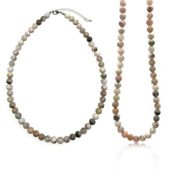 8mm Natural Exquisite Pink Opal Semi-Precious Grade AB Gemstones Crystal Stretch Beaded Necklace