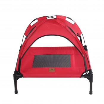 Charlies Elevated Pet Bed With Tent Red Small