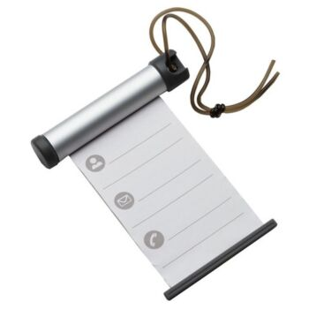 100x Funky Luggage Cylinder Tag Rollout Label for Address Details - Silver/Grey