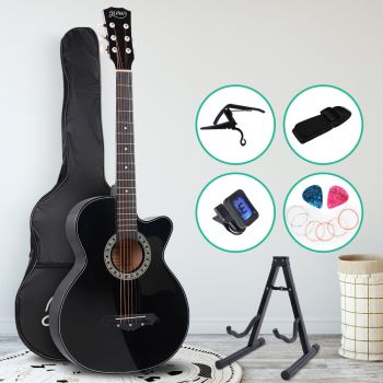 Guitar Acoustic Guitars 38 Inch Wooden Folk Classical Cutaway Steel String w/ Capo Tuner Stand For Kids and Adult Black Alpha