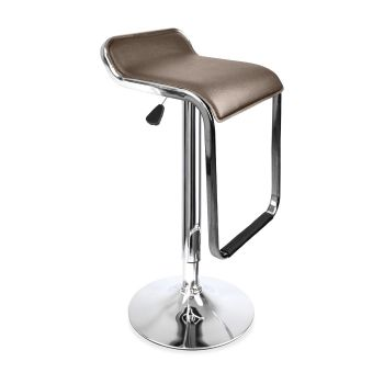 2x PU Leather Swivel Bar Stools Adjustable Gas Lift Chairs in Brown