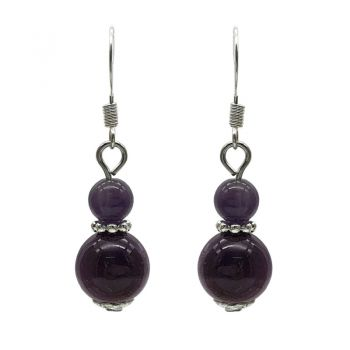 6-10mm Natural Round Amethyst Silver Plated Drop Earrings