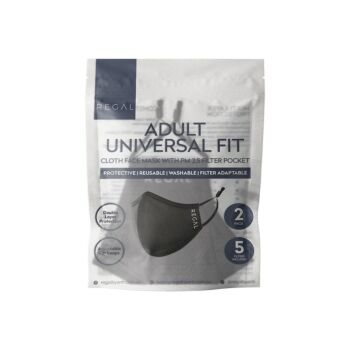 Reusable Cloth Face Mask (Black Inner) with 5 PM2.5 Filters - Adult Universal Fit (2 Pack)
