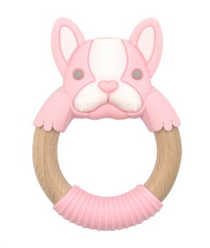 BibiBaby Teething Ring - Frankie Frenchie -Pink and White