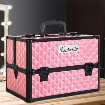 Embellir Portable Cosmetic Beauty Case Makeup Aluminum Box Travel Organiser Pink