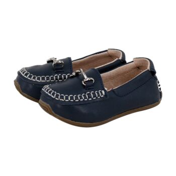 SKEANIE Toddler and Kids Leather Loafers in Navy