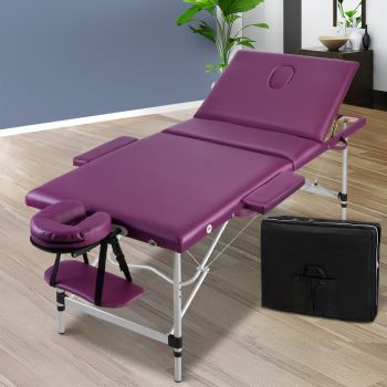 Zenses 75cm Massage Table Portable 3 Fold Aluminium Beauty Therapy Waxing Bed Purple