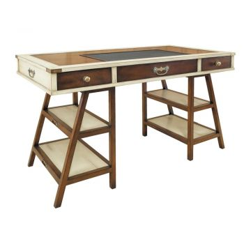 Navigator's Solid Timber Historical Office Writing Desk - Distressed Honey French / Ivory