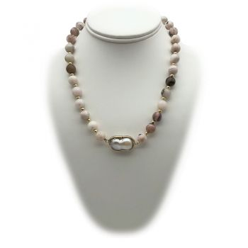 10mm Pink Opal Gemstone Beaded Necklace with Large Baroque Freshwater Pearl
