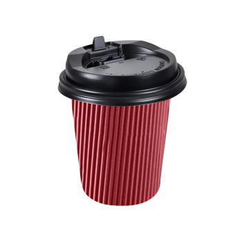 Disposable Takeaway Coffee Cups With Lids Red 100pcs 8oz