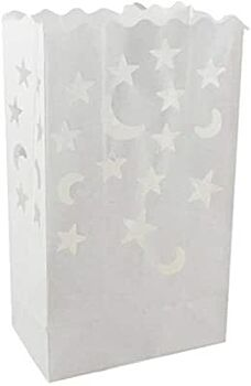 10 Pack - Star and Moon White Candle Bag Lantern Luminary Wedding or Party Path Decoration