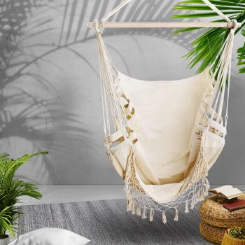 Gardeon Outdoor Tassel Hammock Chair Hanging Rope Portable Hammocks Swing Cream