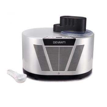 Devanti Ice Cream Maker Machine 1L Frozen Yogurt Self Cooling Compressor Silver