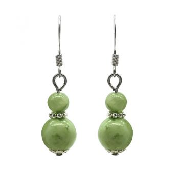 6-10mm Natural Round Light Green Flower Jade Silver Plated Drop Earrings