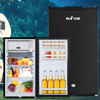 Glacio 95L Portable Fridge Bar Freezer Cooler Upright 12V/24V/240V Caravan 4WD Car Camping Black