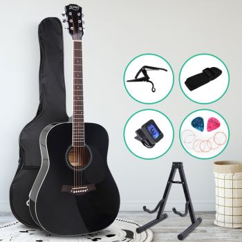Guitar Acoustic Guitars 41 Inch Wooden Folk Classical Cutaway Steel String w/ Capo Tuner Stand For Kids and Adult Black Alpha
