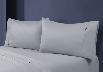 Single Bed 1000TC Egyptian Cotton Fitted Sheet with Pillowcase Pack in Silver