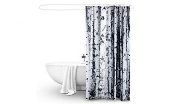 2 Pcs 180x180cm Birch Print Waterproof Bathroom Shower Crutain with 12 Hooks