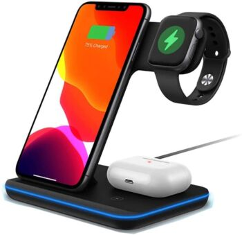 BOOC 3-in-1 Fast Qi  Wireless Charging Station for Various iPhones, Galaxy, AirPods, & Apple Watches