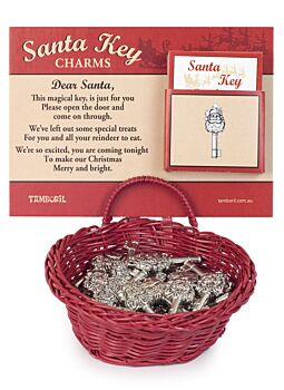 Santa's Key Charms In Basket | A magical Key for Santa with Note | Perfect Small Gift Or Kris Kringle!