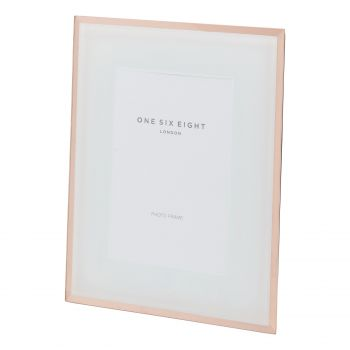 6 x 4 White / Rose Gold Glass Photo Frame