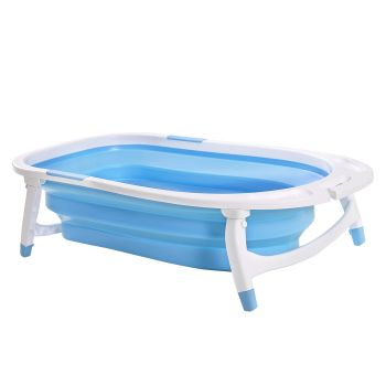 Baby Bath Tub Infant Toddlers Foldable Bathtub Folding Safety Bathing ShowerBlue