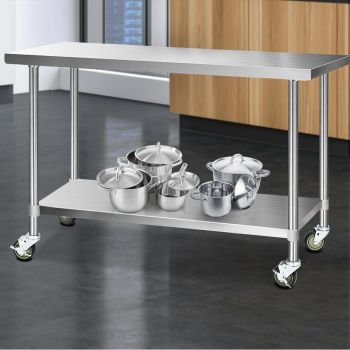 Cefito 1524x610mm Stainless Steel Kitchen Benches Work Bench Food Prep Table 304 Food Grade Stainless Steel w/ Wheels
