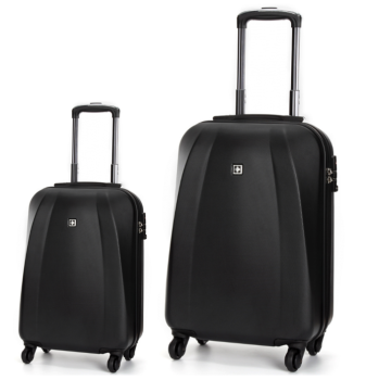Swiss  Luggage Suitcase Lightweight with TSA locker 8 wheels 360 degree rolling HardCase 2 Pieces Set SN6104A&B-Black