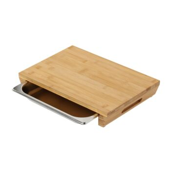 Gourmet Kitchen Bamboo Cutting Board With Stainless Steel Tray  - 42x29x6cm