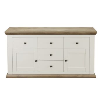 Cosmoliving Buffet Sideboard Cabinet Country Style 2 Door 5 Drawer Large Dresser (Cream Pine Top)