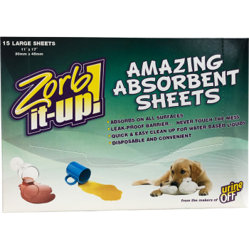 URINE OFF ZORB-IT-UP 15 ABSORBENT SHEETS DISPENSER