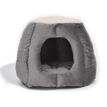 Large Igloo Round Nest Castle Cat House in Grey