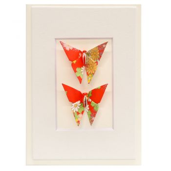 Card Twin Butterfly Flowers Red