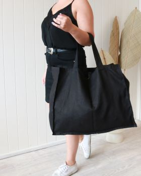 Linen Tote Bag - Large - Black -55x 66