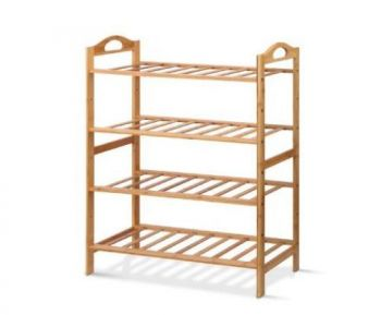 Bamboo Shoe Rack Organiser Wooden Stand Shelf 4 Tiers Shelves