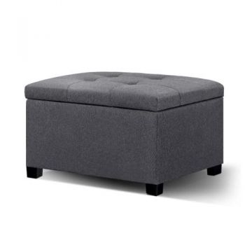 Storage Ottoman Blanket Box Linen Foot Stool Chest Couch Bench Toy Rest