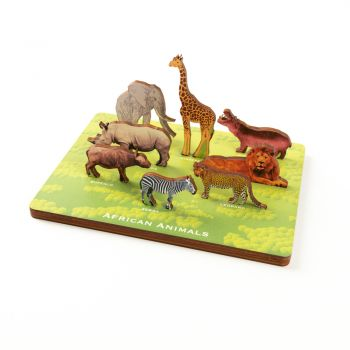 African Animals - Vertical Memory Puzzle