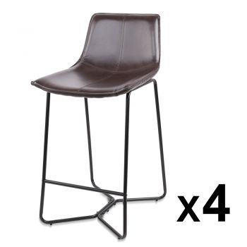 Artiss 4x Bar Stools LEANNE Kitchen Bar Stool Leather Dining Chair Metal Black